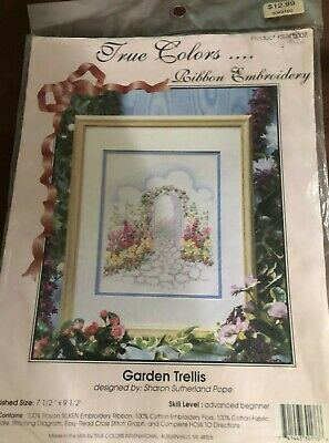 True Colors Ribbon Embroidery Garden Trellis Cross Stitch Kit New but Opened