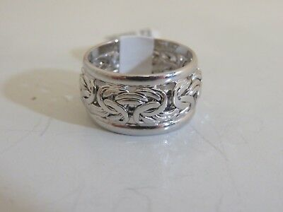 14K White Gold Byzantine Inlay Band Ring New Size 5