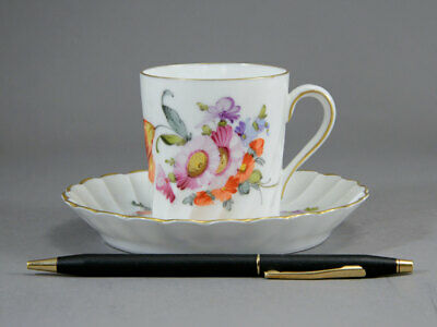 Saxe Hermann Ohme Demitasse Tea Cup & Saucer Hand-Painted Tulips Wrythen Scallop
