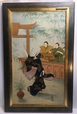 Vintage Japanese Relief Painting Of Dancer And Musicians Framed
