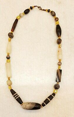 Ancient Sulimani Banded Agate Stone Wonderful Old Necklace with Gold Plated bead