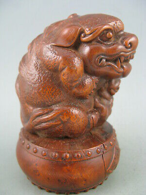 Antique Chinese Old Boxwood Hand Carved Lion Calligraphy 恭贺 Netsuke Statue