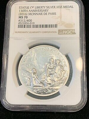 Medal NGC MS70 SKU43439 2016 France 1 Oz Silver Statue of Liberty 130th Anniv