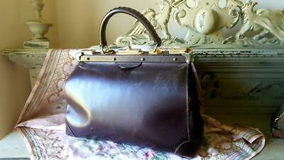 Antique French Paris MICARL Brown Leather Gladstone Doctor's Bag / Travel Case