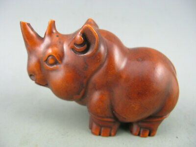 Antique Chinese Collectible Old Boxwood Hand Carved Rhinoceros Statue
