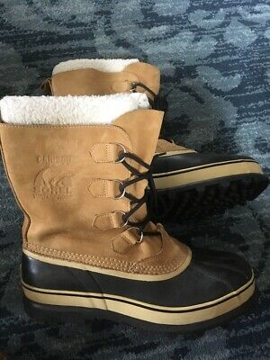 390601fb66f SOREL MENS CARIBOU Buff Leather CANADA Made Winter Snow Boots Wool ...