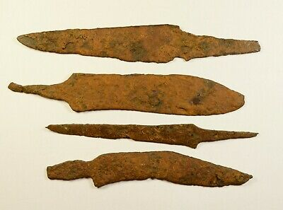 Large Size - Lot Of 4 Ancient Iron Knives / Blades - Nice Condition