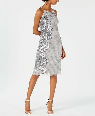 Adrianna Papell Beaded Sequin-Embellished Dress $199 Size 6 # 12B 464 Blm