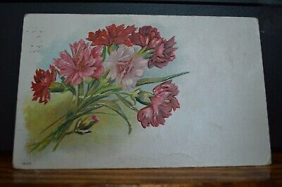 Pink & Red Carnation Flowers In Art Nouveau Style 1909 Embossed Postcard