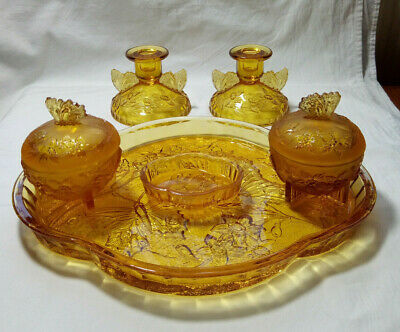 Vintage Art Deco Amber Pressed Glass Dressing Table / Vanity Set Butterfly