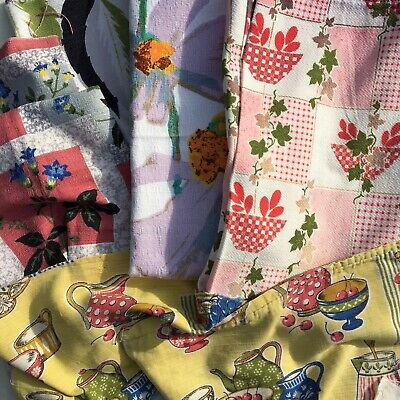 Vintage Floral Fabric Textured Barkcloth Curtain Scraps Remnants 1950s 1960's