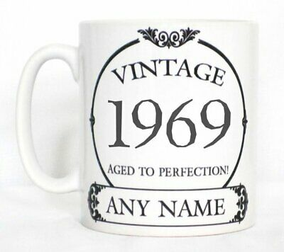 Vintage 1969 Aged To Perfection Mug PERSONALISED Wine Label Birthday Year Gift