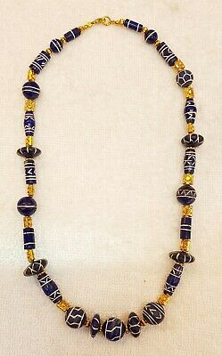 Ancient Old Lapis lazuli Stone Buddhist Ancient Carving Pray Wonderful Necklace