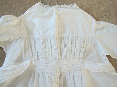 Traditional Antique Vintage  Christening Gown Dress for Baby or Doll  smocked