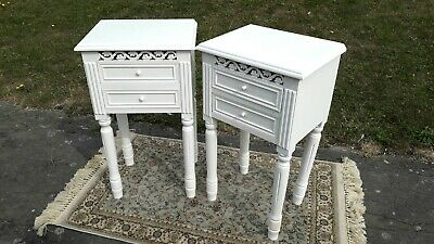 White bedside cabinet pair