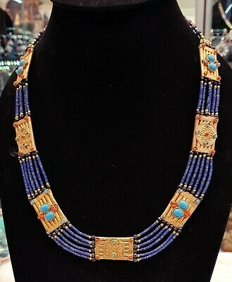 Beautiful Antique Style Gold Plated Unique Necklace With Lapis lazuli Stone Bead