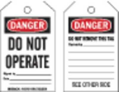 BRADY 145768 Danger Tag,Do Not Operate,PK10