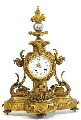 Antique Mantle Clock Beautiful Bronze & Blue Sevres Porcelain Bell Strike Rococo