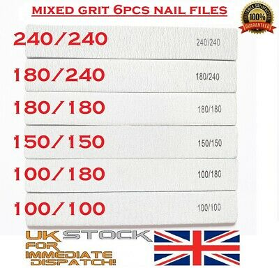 6x Nail Files Zebra SQUARE Shape Mixed Grit Double Sided Emery Board Pro File