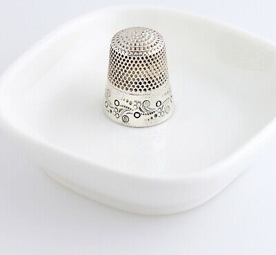 Antique Ketcham & McDougall Sterling Silver Thimble Paisley Scroll Sewing Size 9
