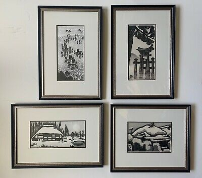 Gihachiro Okuyama, (4) Original Woodblock Prints. Prof. Framed