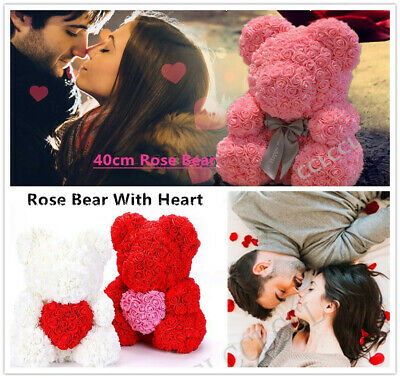 40cm  Rose Teddy Bear Flower Heart Bear Gift Birthday Wedding  Christmas UK