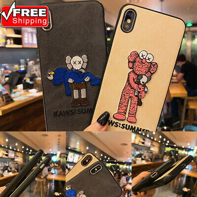 Embroidery KAWS Pattern Shockproof Ultrathin Non-slip TPU Phone Case For iPhone