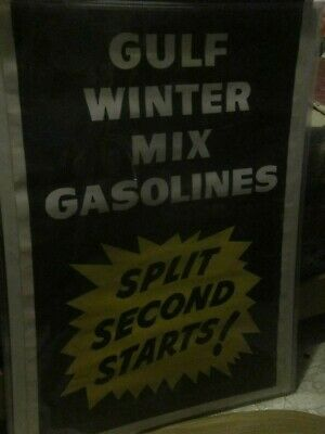 Vintage Gulf Oil Gulf Winter Mix Gas 27x40 Paper Display Advertising Poster