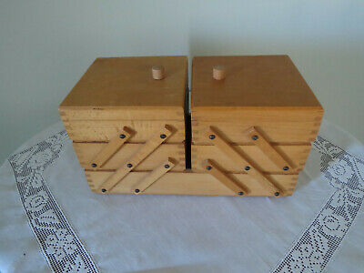 Vintage Retro Wooden Cantilever Sewing Box