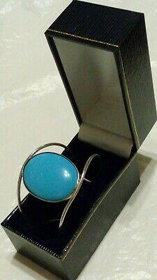 "Elegant Sterling Silver Oval Turquoise Cabochon  6"" Cuff Bracelet Boxed*****"