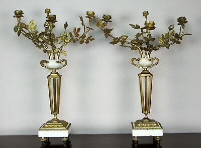 Pair Antique French Empire Gilded Bronze Candelabra w/Marble Urn Beveled Glass