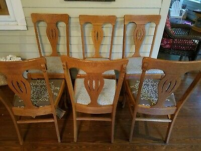 Set of 6 antique dining chairs - quartersawn tiger oak