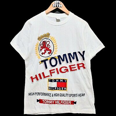 Vtg 90s Tommy Hilfiger Bootleg All Over Print T Shirt Sz M White NOS DS Big Logo