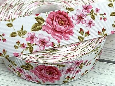 "Pink Rose Flowers Grosgrain Ribbon 1"" 1.5"" Printed USA SELLER E4"