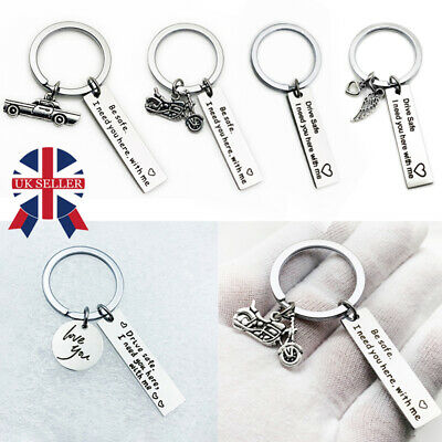 Dad Boyfriend Gifts Drive Safe Keyring I Need You Here with me for Men Keychain