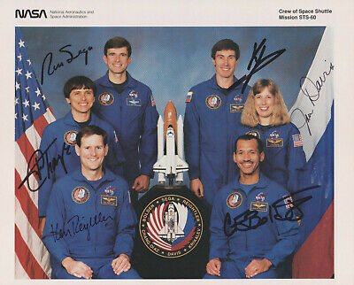 NASA STS-60 autographed signed crew litho - with Ron Sega