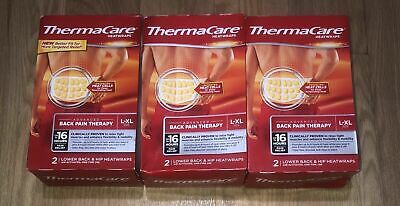ThermaCare Heatwraps Lower Back & Hip Topical Pain Relief L-XL 3 Boxes (6 Wraps)