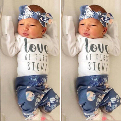 Newborn Baby Girl Long Sleeve Romper Tops+Floral Pants+Headband Outfits Clothes