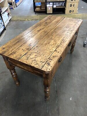 Victorian 3 Drawer Period Pine Harvest Table, Maybe Deliver,Kitchen Hall Console