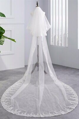 2 Tier White/Ivory Bridal veil WeddingSequins lace long veil Cathedral veil
