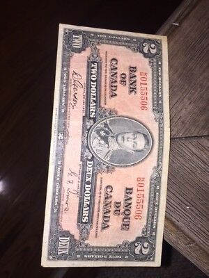 1937 Bank of Canada 2 Dollar Note - and ofcourse with free shipping