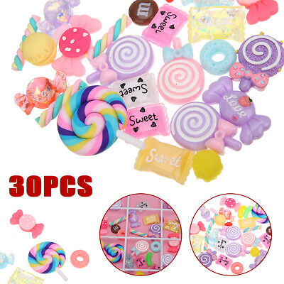 30pcs Candy Slime Beads Charms DIY Candy Flatback Resin Flat Back Scrapbooking