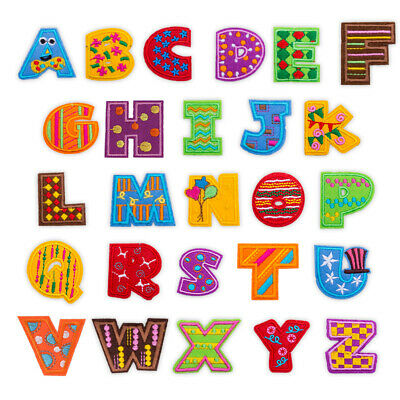 Colorful Letter Badge Embroidered Iron on Patch Cartoon Alphabet Emblem Name Tag
