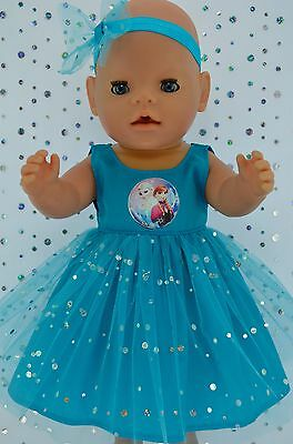 "Play n Wear Dolls Clothes To Fit 17"" Baby Born  TURQUOISE SEQUIN DRESS~HEADBAND"