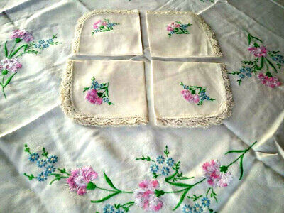 Stunning Vintage Pink Carnation Tablecloth & 4 Matching Napkins Hand Embroidered