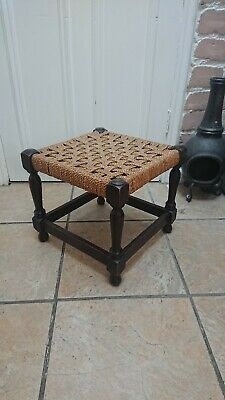 Vintage Wooden oak Stool Footstool with Woven Rush Seat