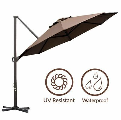 11ft Patio Umbrella Clearance Cantilever Outdoor Poolside Deck Hanging Sun Shade