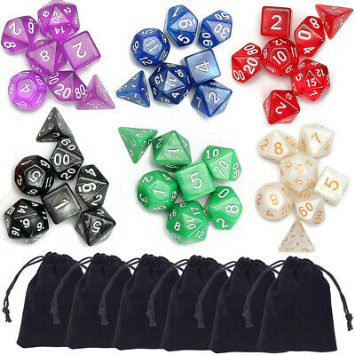7/35/42Pcs Embossed Heavy Metal / Acrylic Polyhedral Dice DnD RPG MTG SET +