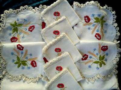 Vintage Red Poppy/Wheat/Cornflower Tablecloth & 5 Napkins Hand Embroidered