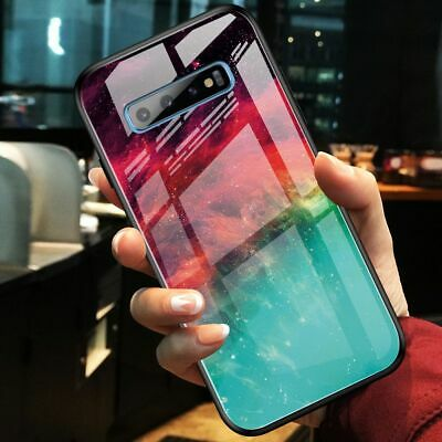 For Samsung Galaxy S10+ S10e, Luxury Hybrid Glass Shell Case Soft Bumper Cover